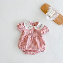 Newborn Baby Girls Romper Doll Collar Baby Clothes Embroidered Summer Infant Baby Jumpsuit For Girls