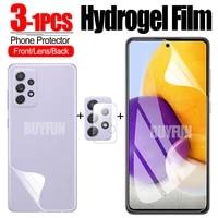 For Samsung Galaxy A72 A52 A42 A32 A12 A02 5G Hydrogel Film Camera Glass Back Cover Protective Film on samsun A 72 Safety Film