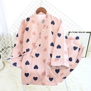 Japanese Kimono Cotton Women Pajamas Sets Pyjama Cute Cartoon Button Top+Pants 2Pcs /lot Pijama Sleepwear Lounge Wear