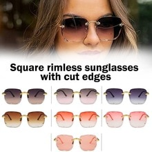 2021 New Square Rimless Sunglasses Women Luxury Brand Designer Glasses For Female Fashion Sun Glasse