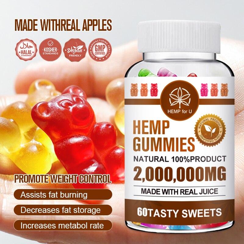 60pcs 2000000mg Hemp Gummies Bear Gummy Hemp Oil Gummies CBD Relieve stress & Anxiety Relief Blend