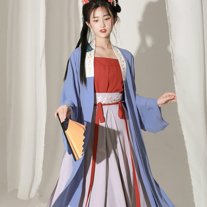 Ancient Chinese Traditional Hanfu Dress Women Elegant Fairy Embroidery Stage Folk Dance Costume Retro Tang Dynasty 3 Piece Sets