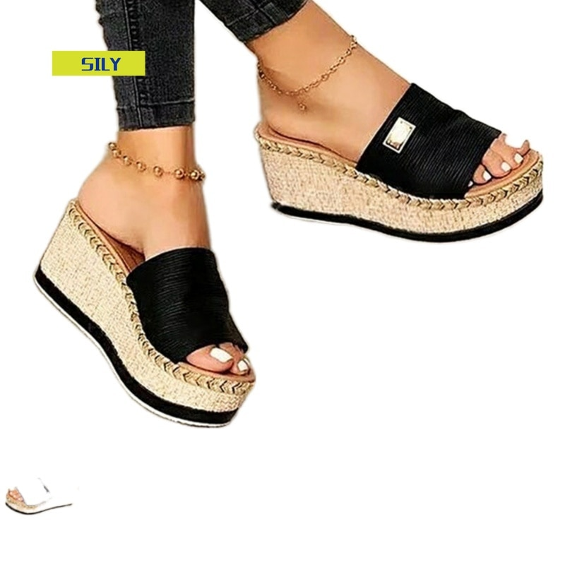 Womens High Heels Sandal Thick Bottom Casual Shoes Ladies Leisure Summer Wedges Sandals Woman Shoes Women Platform Mules Slipper