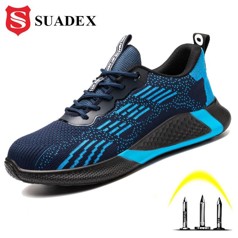 Sapatos de Segurança Sapatos de Segurança de Aço Suadex Homens Mulher Trabalho Aço Boné Toe Anti-esmagamento Palmilha Pucture Prova Plutônio Sola Leve Sapatos de