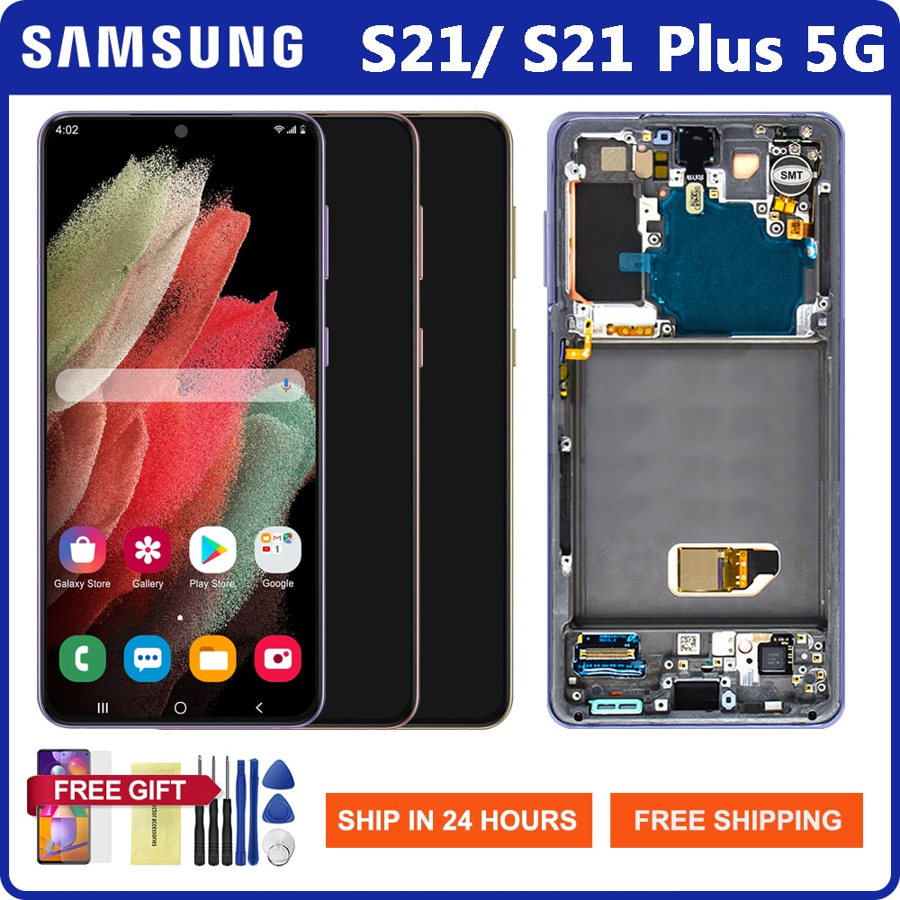 الشاشة الأصلية لسامسونج غالاكسي S21 5G G991 شاشة تعمل باللمس محول الأرقام لسامسونج غالاكسي S21 زائد S21 + 5G G996 Lcd