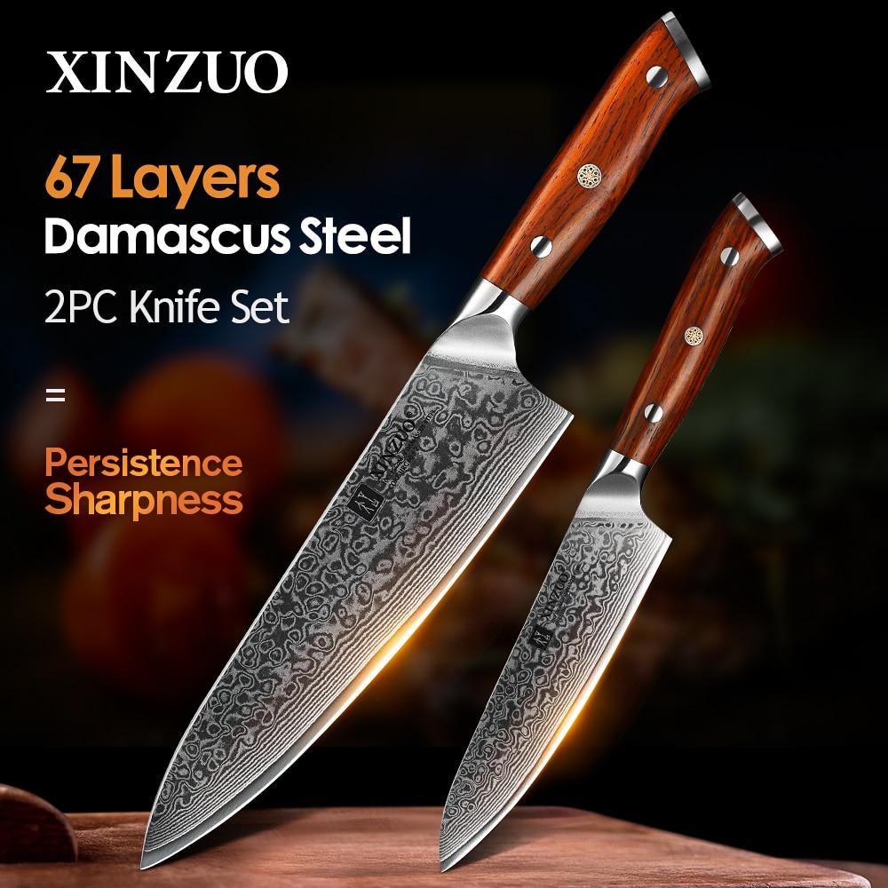 XINZUO 2 قطعة طقم السكاكين المطبخ الشيف اليابان VG10 دمشق الصلب الشيف فائدة السكاكين روزوود مقبض أفضل نوعية أدوات المطبخ كوك