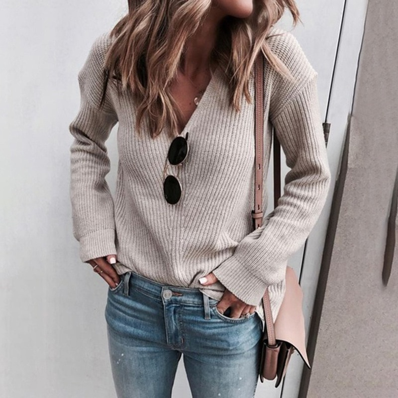 aelorxin 2017 women sweaters and pullovers thick autumn winter casual full sleeve o neck fashion women sweater girls sweaters Autumn and Winter Sweater Ladies Fashion V-neck Knitted Tops Casual Long Sleeve Women Knitting Sweaters Pullovers