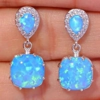 milangirl ladies blue white opal inlaid zirconia crystal stud pendant earrings for women girl party jewelry accessories