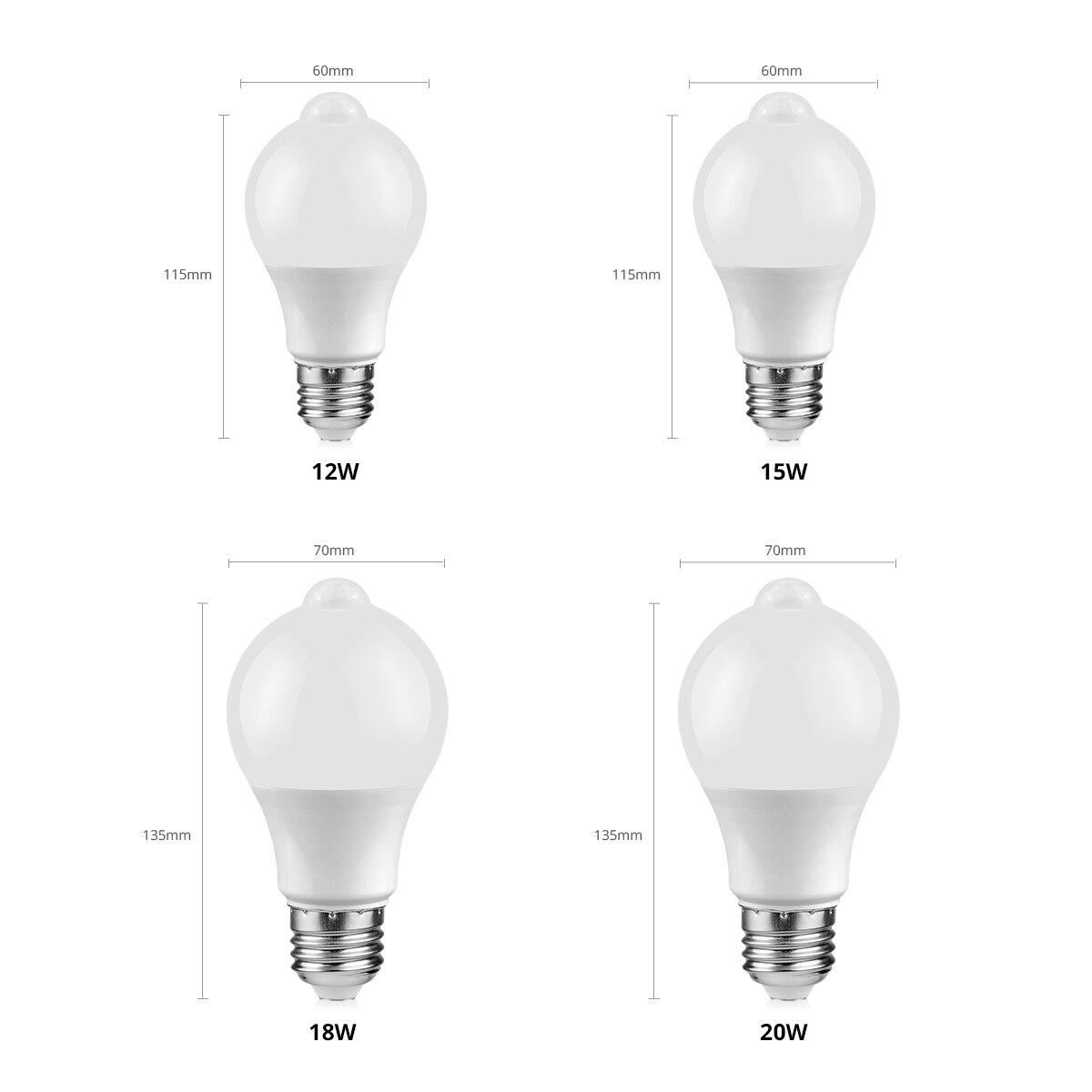 12W 15W 18W 20W LED Motion Sensor Bulb LED lamp PIR Sensor Light Auto ON/OFF Night Light  For Home Parking Lighting AC85-265V enlarge