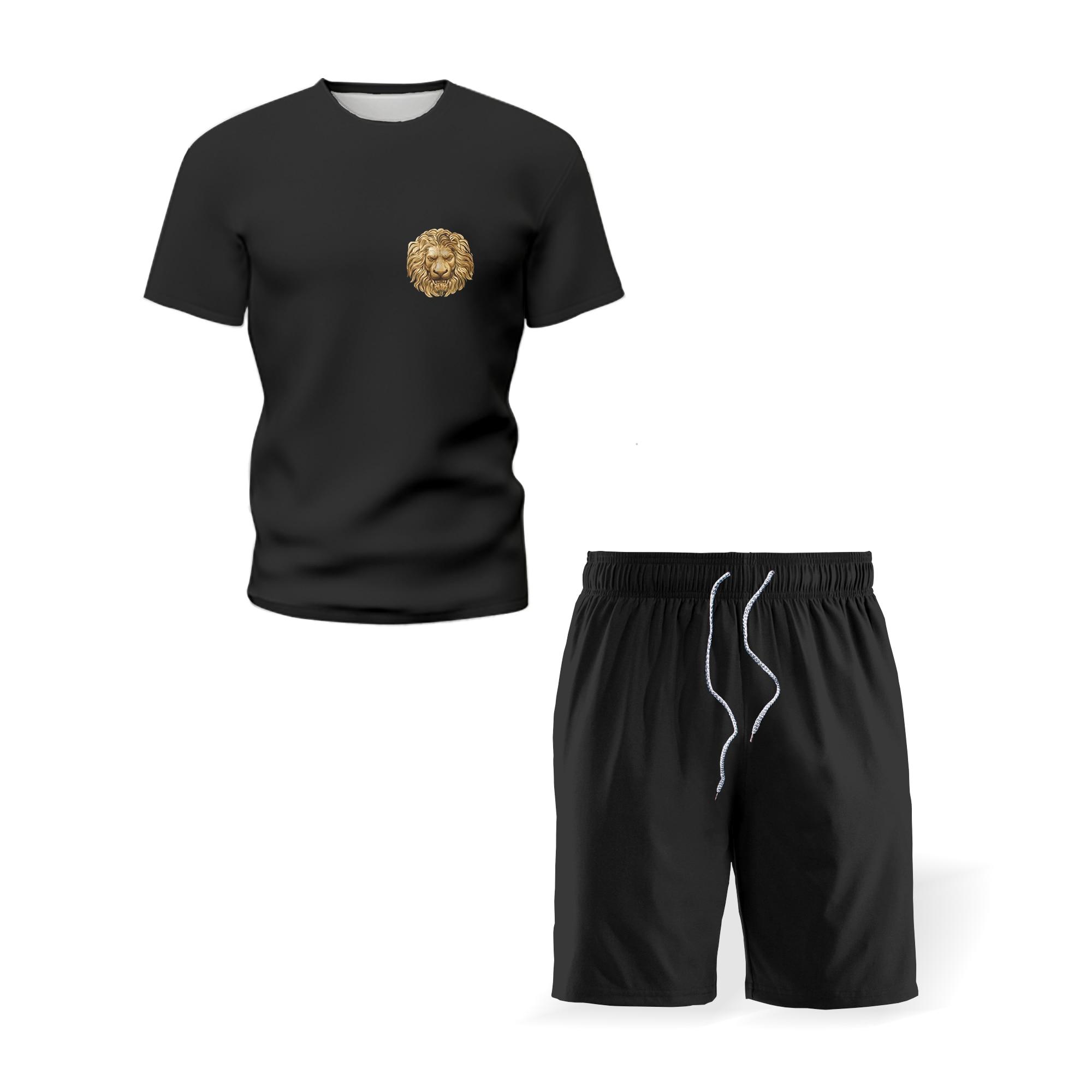 New black men's simple suit digital printing sportswear short-sleeved shorts loose men's basketball football training suit