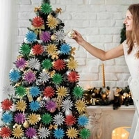 new product christmas decoration flower 7cm7cm christmas tree onion pink artificial flower a pack of 6 colors home decoration