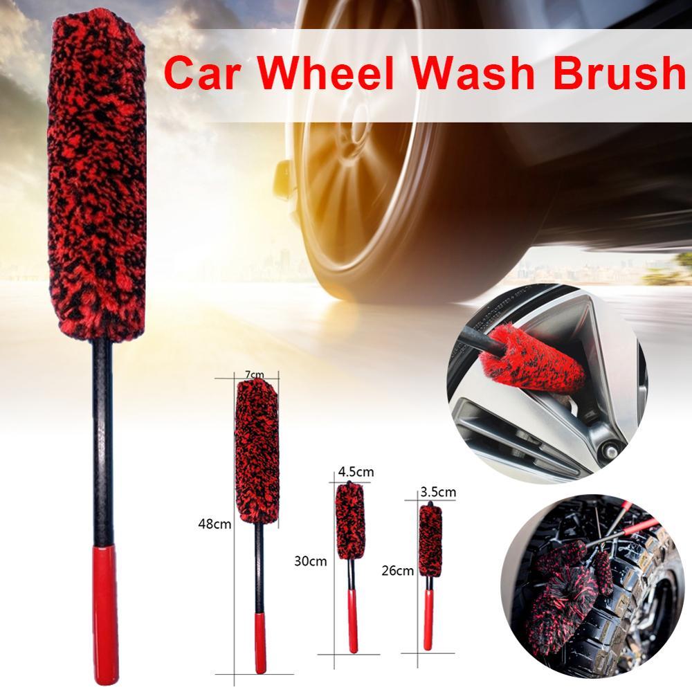 1*Car Wash Wheel Wash Brush Portable PP Handle Wool Brush Wheel Tire Brush Vehicle Cleaning Brush Car Washing Cleaner Universal