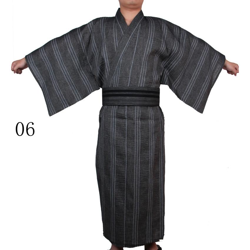 Hombres japoneses tradicionales Samurai Kimono algodón Lino suelto Yukata Cardigan Jinbei Haori Retro batas de baño disfraces de fiesta Cosplay