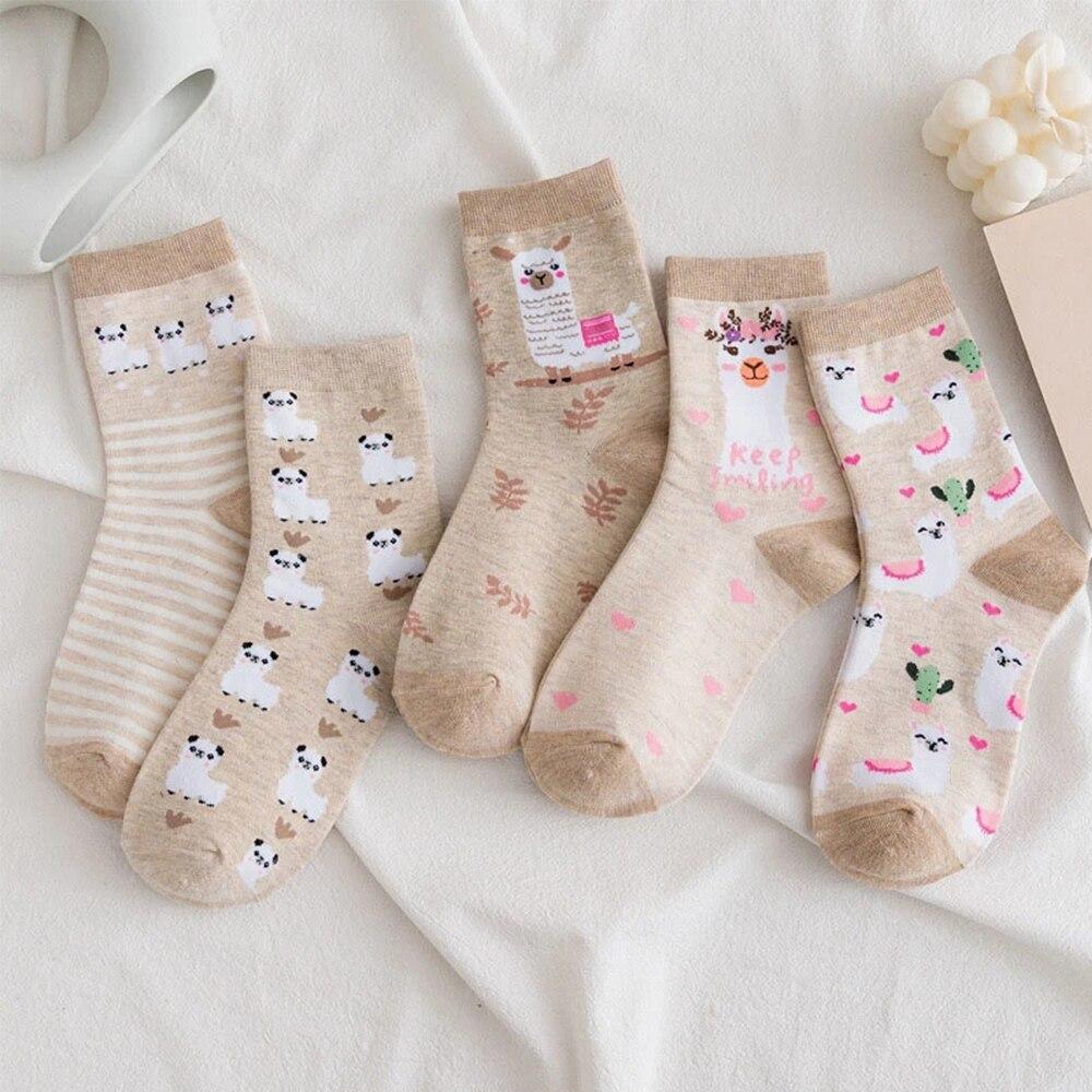Cute Alpaca Funny Socks Harajuku Creative Cactus Harajuku Kawaii Autumn Winter Hosiery Women Cartoon Socks