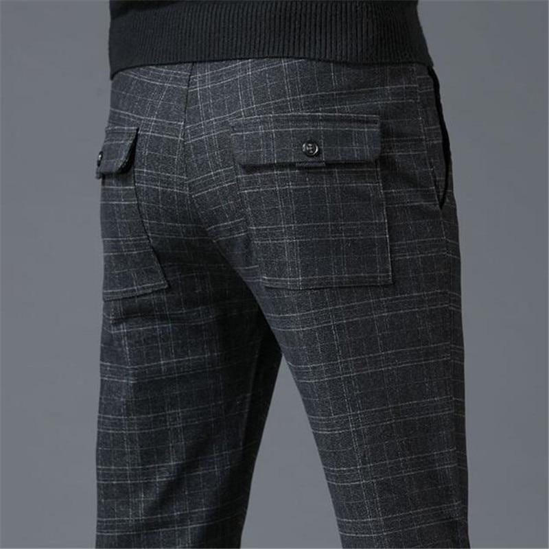 Брюки мужские деловые клетчатые повседневные брюки мужские корейские трендовые матовые брюки мужские облегающие брюки на осень и зиму