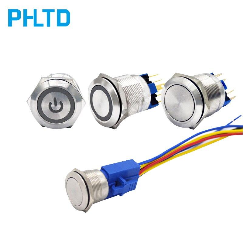Botón de Metal 16/19/22mm con interruptor de luz resistente al agua niquelado Botón de latón auto-reinicio posición de bloqueo automático