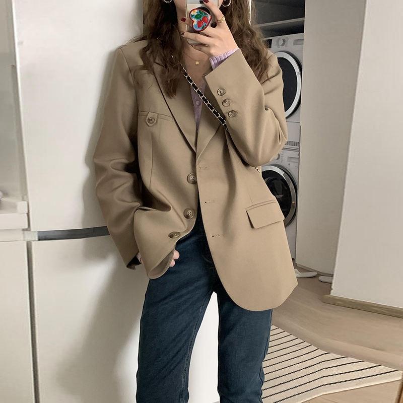 2021 Women Suit Coat Spring And Autumn Small Suit Coat Female Minority Korean Casual Small Khaki Sui