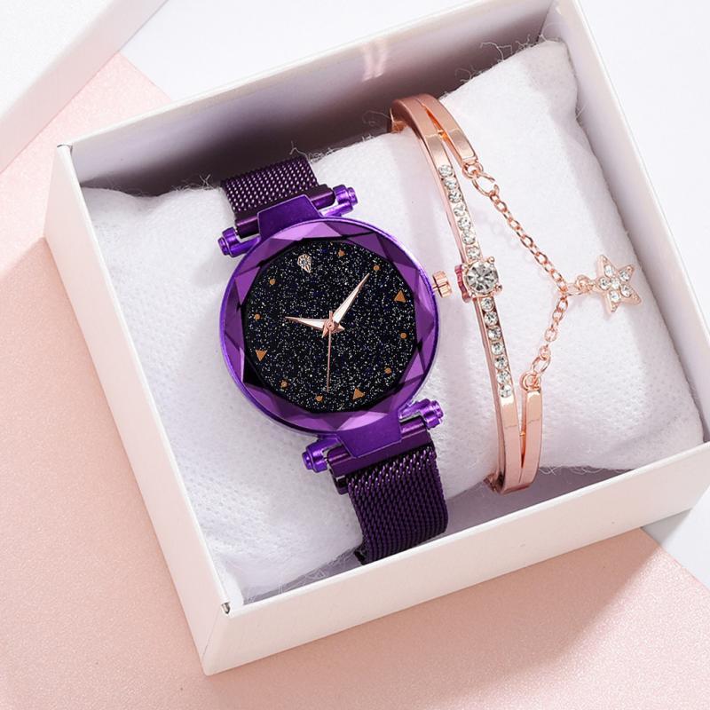 Reloj de malla con hebilla magnética y cielo estrellado para mujer, superventas, relojes de cuarzo con superficie geométrica e informales para mujer, reloj femenino