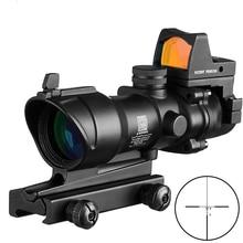 ACOG 4x32 사냥 광학 범위 사냥 시력 Airsoft Docter 미니 블랙 스코프 Red Dot Sight Light Sensor Chasse