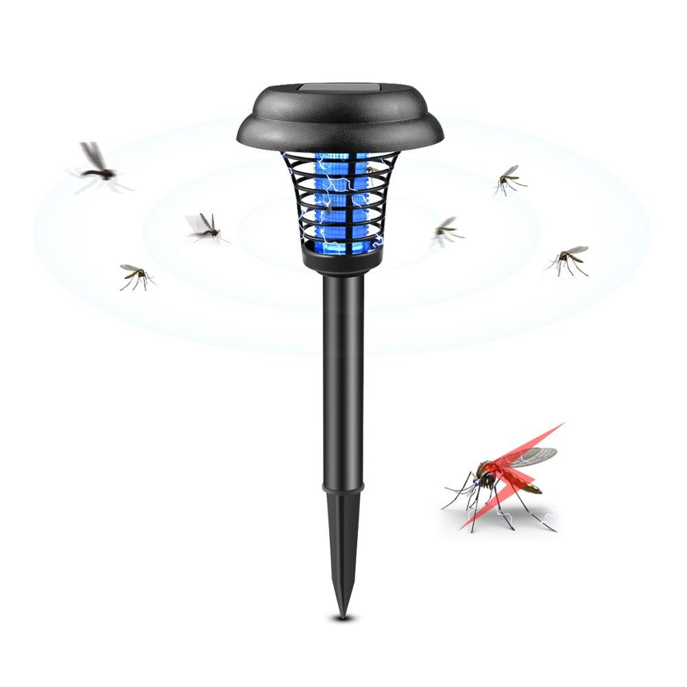 Energía Solar lámpara mata mosquitos impermeable al aire libre LED Powered plagas noche luz UV jardín patio, césped Mosquito trampa insecto asesino