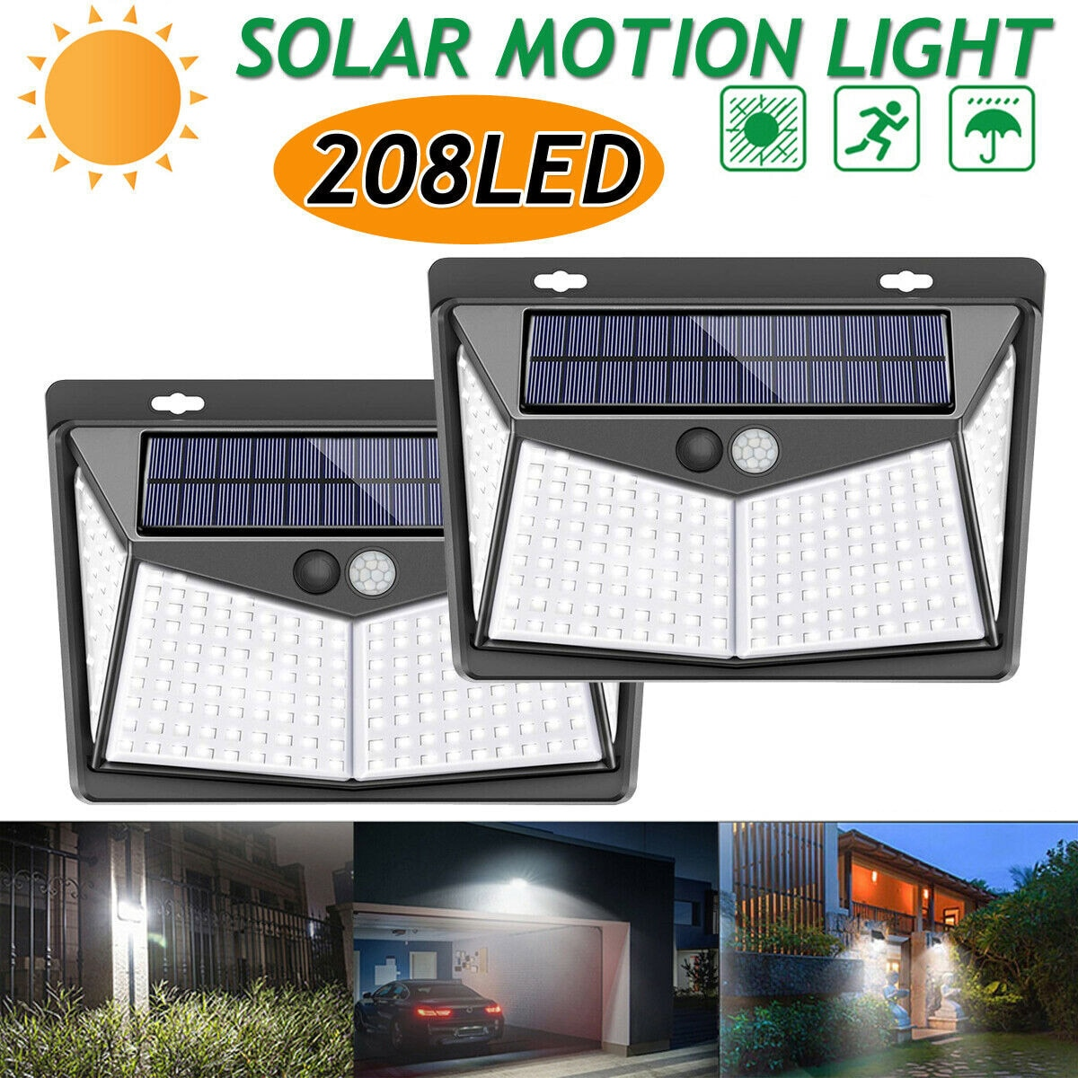 208 LED Solar Lights Outdoor Led Solar Powered Motion Sensor Lamp 3 Modes IP65 Waterproof Garden Wall Light For Patio Road