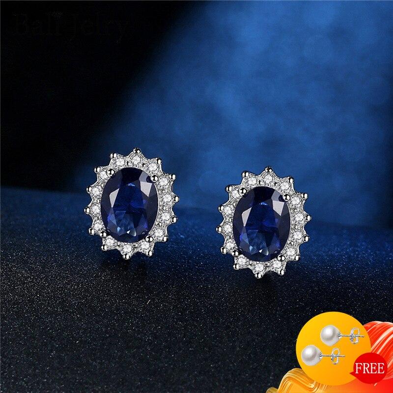 AliExpress - Fashion Earrings Silver 925 Jewelry Oval Shape Sapphire Zircon Gemstone Stud Earrings Accessories for Women Wedding Engagement