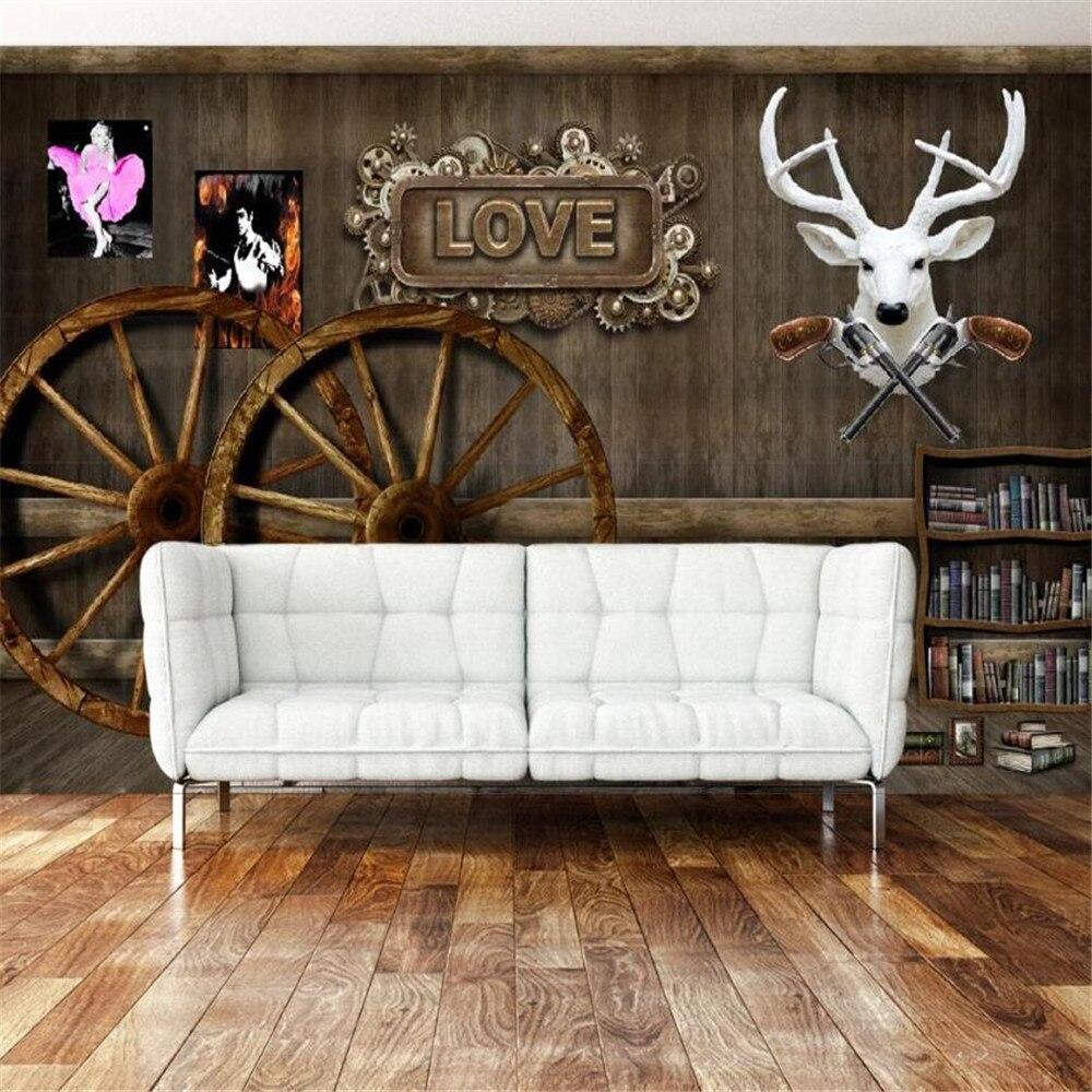 milofi custom 3D large wallpaper wall cloth retro nostalgic wooden grunt deer head bar background painting photo