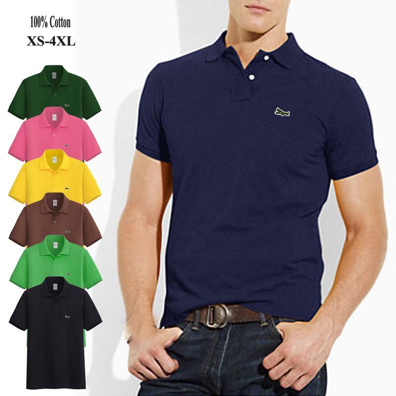 Polos de alta calidad 2020 para hombre, camisetas de manga corta con Logo bordado, polos casuales 100% de algodón para hombre, tops de moda para hombre, XS-4XL