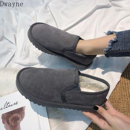 Snow boots women 2019 new fashion short canister foot pedal winter Baitie plus Plush beans bread cotton shoes