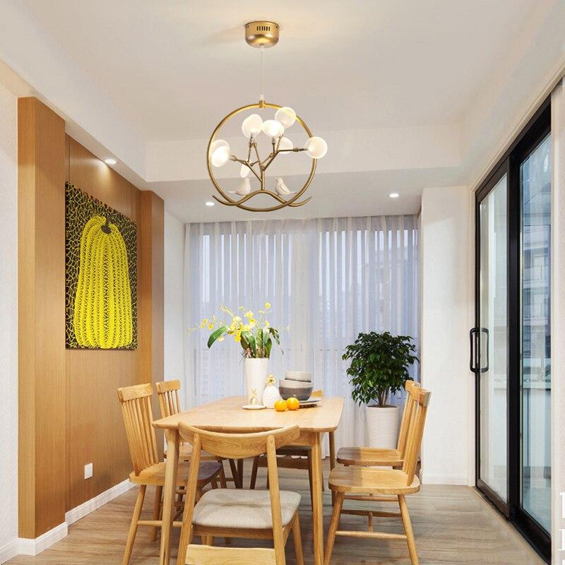 Modern Firefly Chandelier Led 220v Gold Ring Light Luxury Bird Home Decor Hanging Lamps Bedside Living Dining Room Fixtures