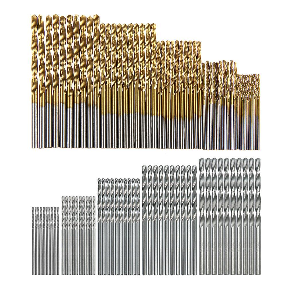 100pcs 1.0-3.0mm Straight Shank HSS Twist Drills Woodworking Drill Bits Set Hand Tools Power Tools Accessories