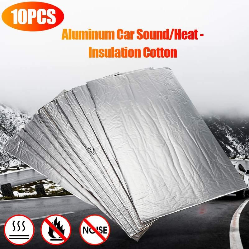 10PCS Car Soundproof Foam Sound Hot Deadener Mat Noise Proof Bonnet Insulation Deadening Engine Firewall Heat Cotton Sticker