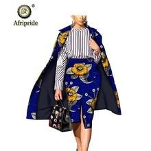 Costumes 2 pièces africains pour femmes long manteau + ankara jupe imprimer dashiki robe dashiki ensemble grande taille bazin riche AFRIPRIDE S1826008