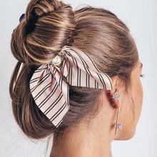 2020 New Fashion Chiffon Silk Sweet Bow Hair Scrunchies Women Hair Tie Hair Rope Rubber Bands Ponytail Holder Hair Accessories