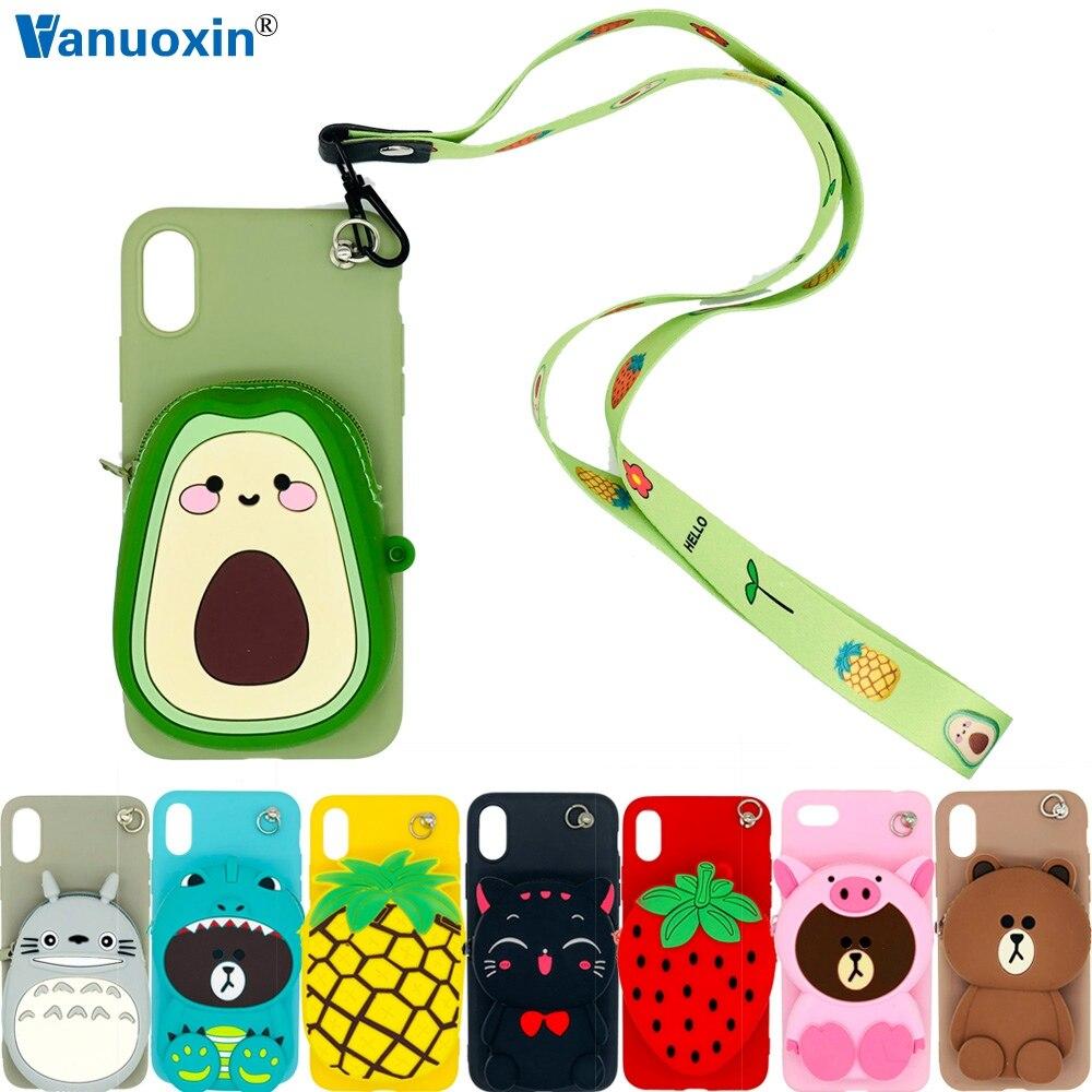 3d bonito dos desenhos animados carteira casos de telefone para o iphone x xr xs 11 pro max caso para o iphone 6 s 7 8 plus caso macio slicone volta capa