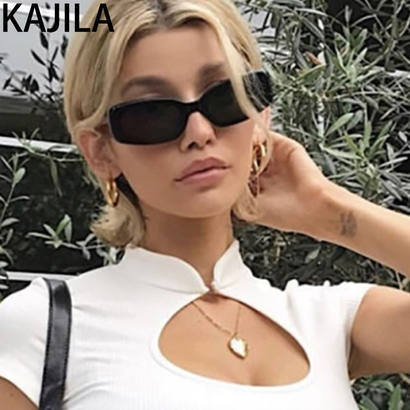 Gafas de sol rectangulares negras para mujer, gafas de sol cuadradas Retro pequeñas Vintage de marca para mujer, gafas de sol okulary przeciwsloneczne damskie