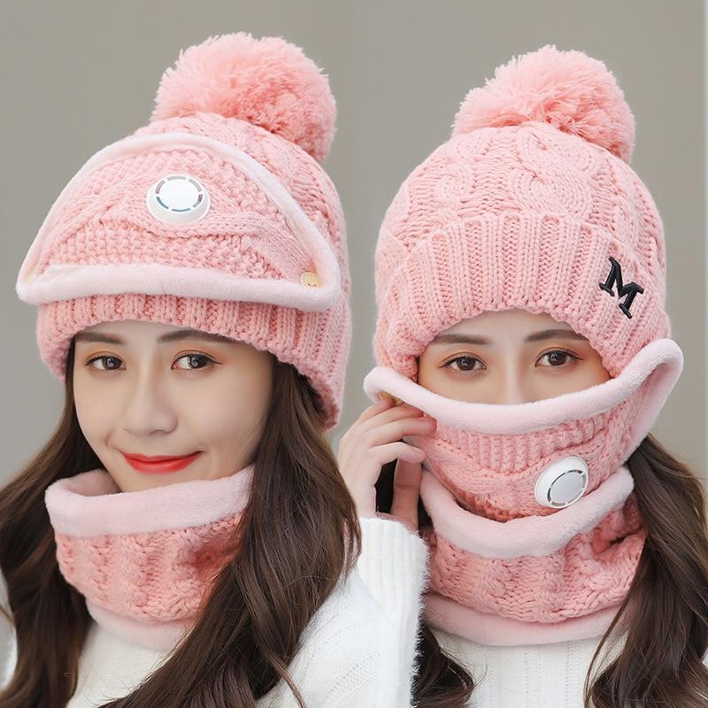 Winter Cycling Hat Women 3 piece Warm Wool Beanies Skullies Hats With Mask Collar Bib Female Velvet Thick Anti-smog  Knit Caps