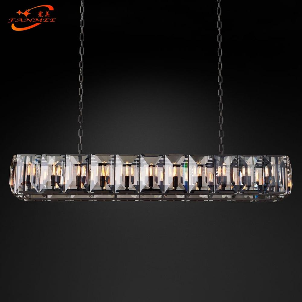 Candelabro Rectangular de lujo lámpara de araña de Cristal luz Led colgante