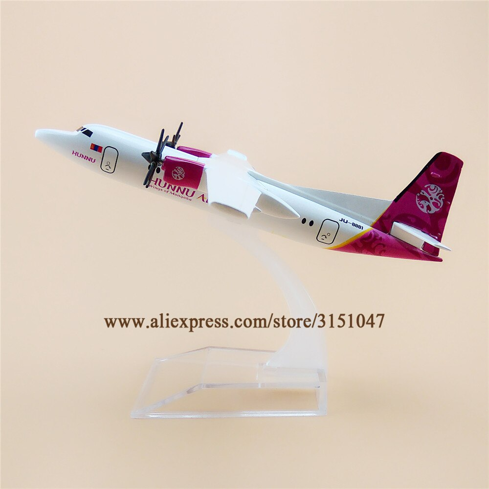 16cm Mongolia HUNNU Air FOK Fokker F50 F-50 modelo de avión aerolíneas Aleación de Metal fundido modelo avión Aircraft Airways niños regalo