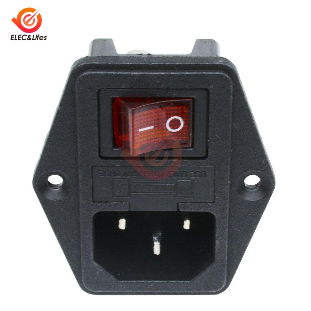 Módulo de entrada de CA de 10A y 250V, interruptor basculante, toma de corriente macho de 3 pines, interruptores de alimentación + toma portafusibles