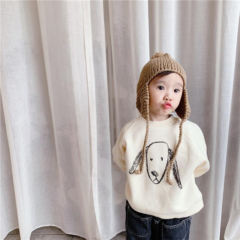 Fashion cartoon fleece thicken sweatshirts for children Winter Korean style boys and girls soft warm pullover 2020 new