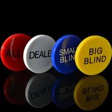 JIESITE 4 pièces/ensemble mélamine ronde en plastique concessionnaire pièces de monnaie petit aveugle/grand aveugle/revendeur/tous dans les boutons de pièce de monnaie de Poker Texas