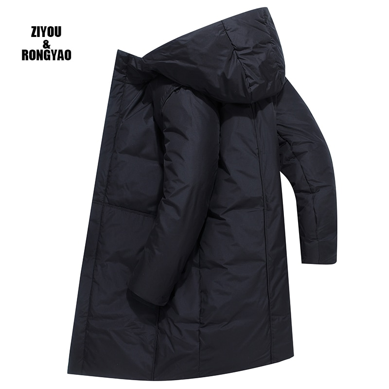 Мужская длинная куртка с капюшоном, черная Повседневная теплая куртка с капюшоном, зима 2020