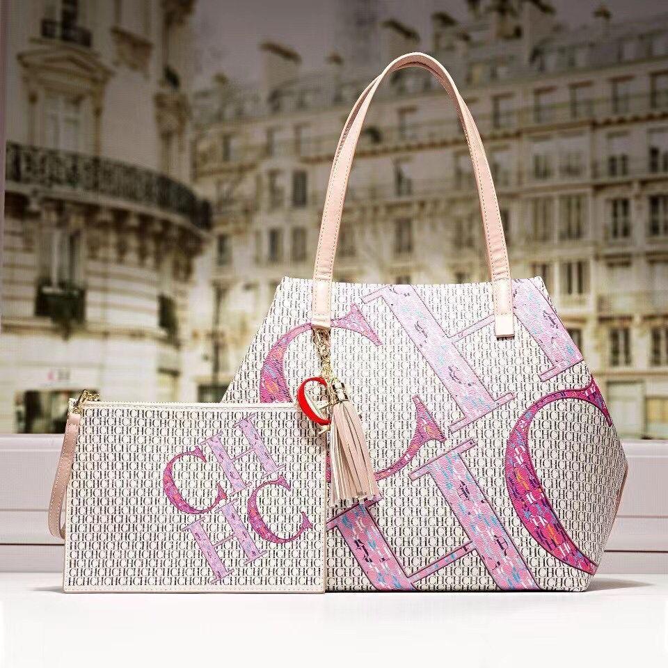 100% حقيقي جلد البقر حقيبة الجراب الجلدية حقيبة للنساء سعة كبيرة CH طباعة حقائب مع محفظة صغيرة السيدات اليومية حقيبة تسوق دلو