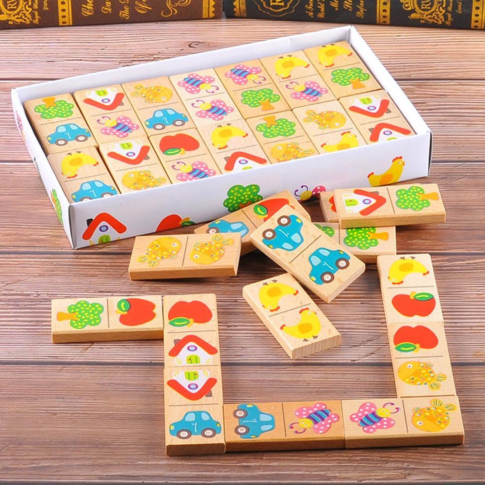 28 unids/set de fruta de madera coche emparejamiento Domino bloques niños juguetes educativos