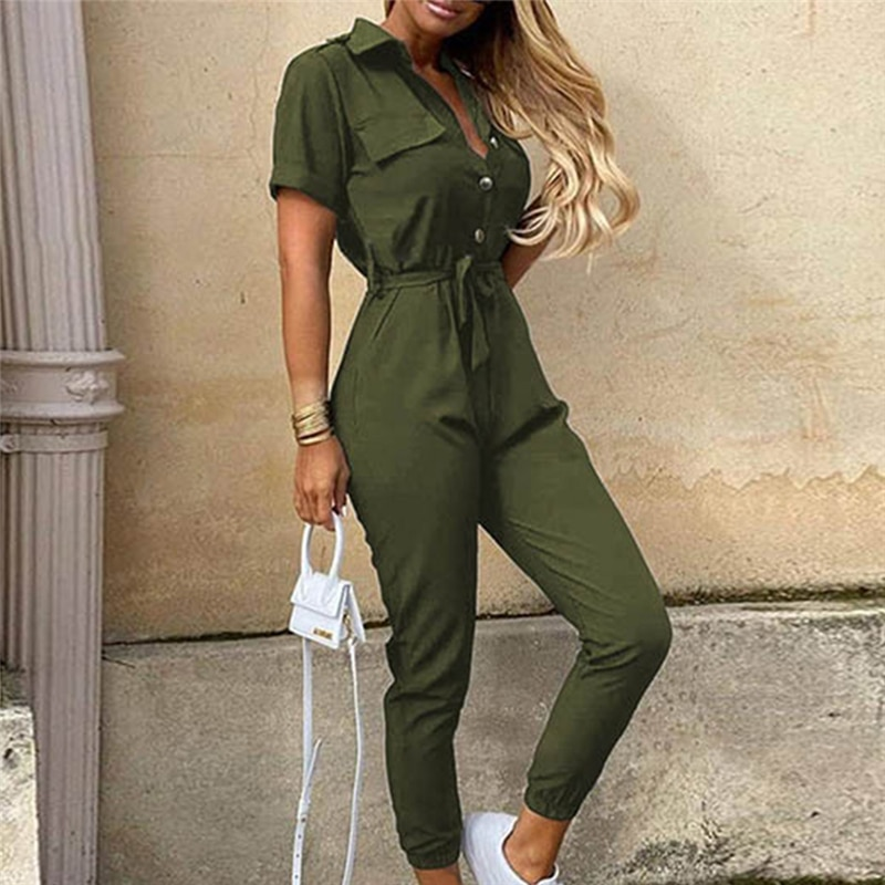 Streetwear Green Sexy Bodycon Jumpsuit Women Overalls Rompers 2021 Short Sleeve Skinny Summer Womens Jumpsuit