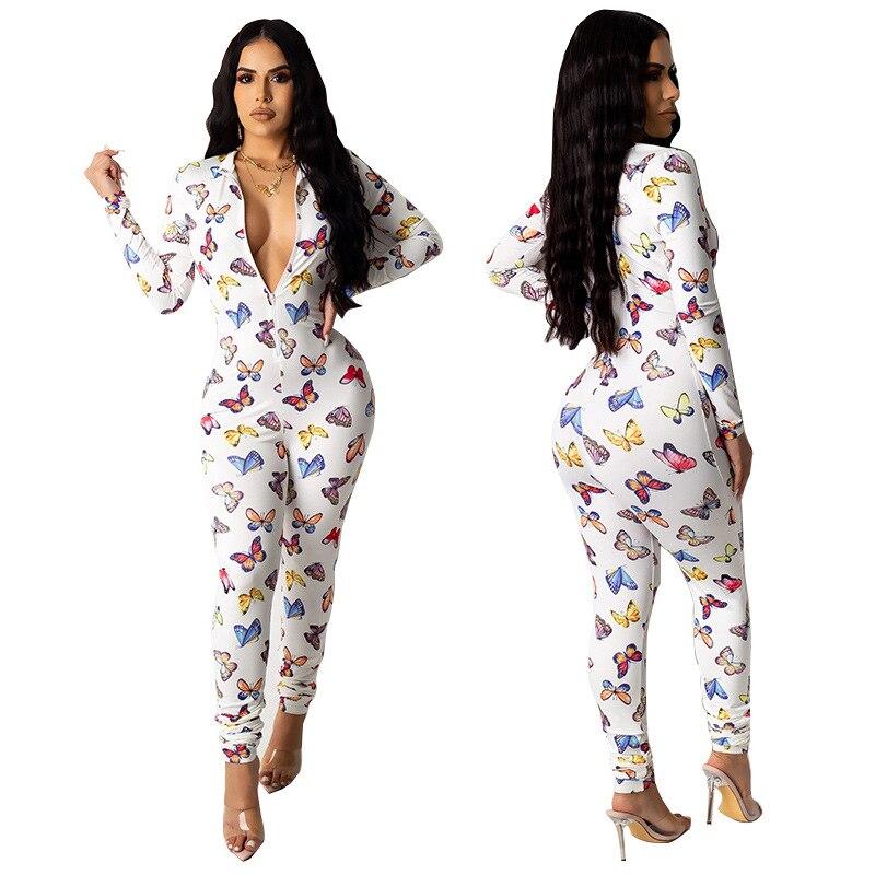 Mono largo con estampado de mariposas, pantalones largos para mujer, mono elegante para fiesta nocturna, mono Sexy ajustado para mujer, talla grande