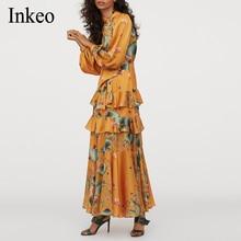 Dames fête élégant élastique tache longue robe 2020 printemps o-cou à manches longues femme irrégulière Maxi robe drapé Chic INKEO 9D153