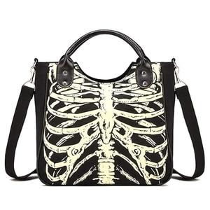 Luminous Gothic Skeleton Bones Skulls Bags Rock Designer Female Casual Totes Women Punk Bags Fashion Handbag