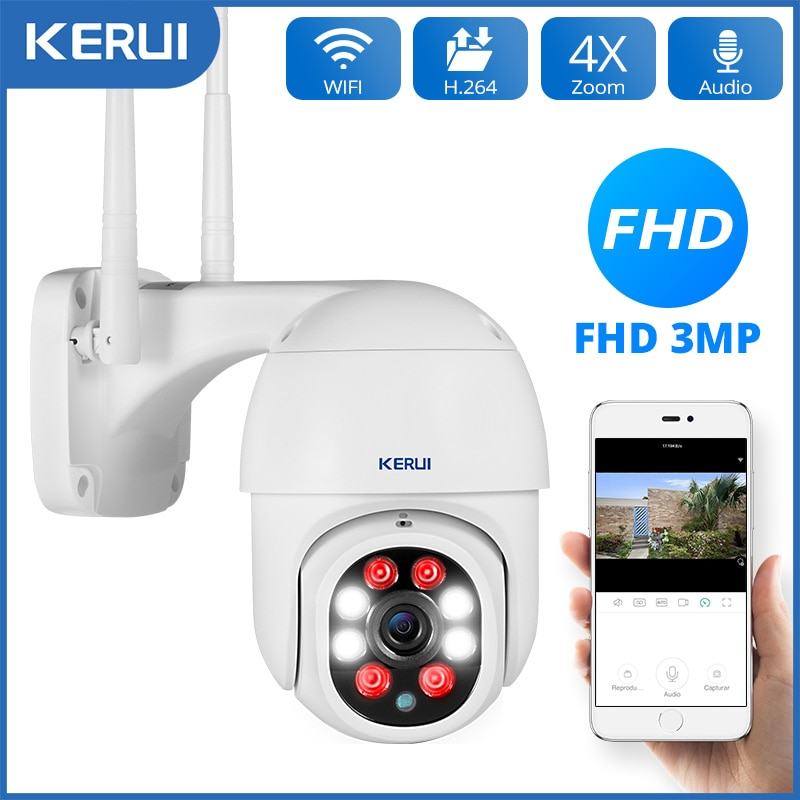 KERUI 1080P 3MP PTZ واي فاي IP كاميرا لا سلكية في الهواء الطلق أمن الوطن 4X التكبير الرقمي 2MP سرعة كاميرا بشكل قبة CCTV المراقبة بالفيديو